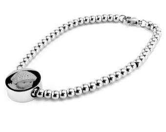 Photo & Message Engraved Snake OR Ball Chain Circle Charm bracelet.  Stunning Keepsake Personalised Gift
