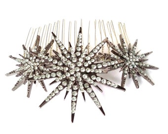 Deco star burst comb, silver rhinestone star headpiece, Deco bridal headpiece