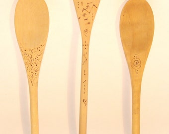 Set of three Woodburned Spoons