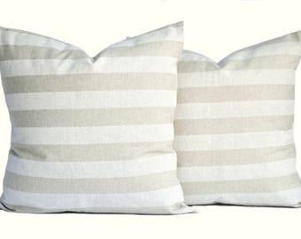 2 Premier prints pillow covers, cushion, decorative throw pillow, Tan pillow, accent pillow, Striped pillow, pillow case