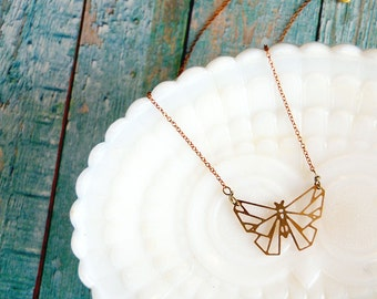 modern brass laser cut geometric moth necklace - vintage brass chain- butterfly- laser cut animal