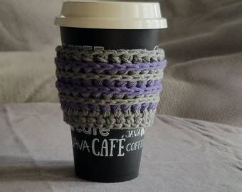To go cup sleeve / hot cup jacket/cup holder// grey and purple// handmade// ready to ship// green gift