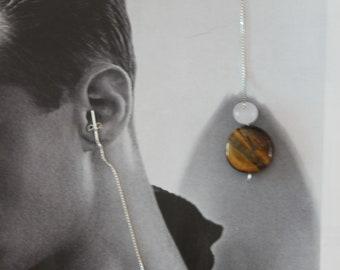 Tigers Eye and Rose Quartz Silver Threader Earrings