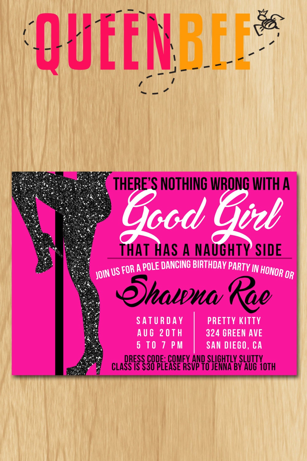 Pole dancing birthday party invite with free game card zoom monicamarmolfo Image collections
