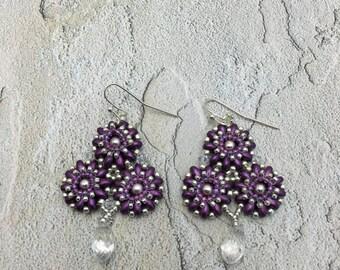 Purple Tri-Flower Earrings