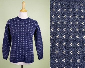 Vintage Alps Sweater - Blue & White Crew Neck Pullover Sweater - Small