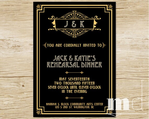 Great Gatsby Rehearsal Dinner Invitation Gatsby Wedding