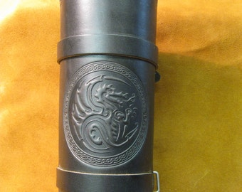 Leather strapped dragon embossed armguard/bracer