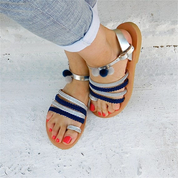 flats Pom Leather Decorated Sandals Sandals BOHO Sandals Sandals Greek Comfortable sandals pom Wedding Sandals sandals Blue qgqf4