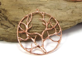Tree of Life Pendant, 2 Copper Tree Pendant, 38mm Tree Pendant, Tree Pendant, Jewelry Supplies, Item 180m