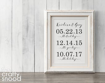 The First Day, The Yes Day, The Best Day - Dates Custom Wedding Printable/Digital File