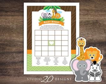 Instant Download Safari Bingo Game, Printable Jungle Bingo Baby Shower Game, Lion Elephant Zebra Giraffe Baby Shower Bingo 57A