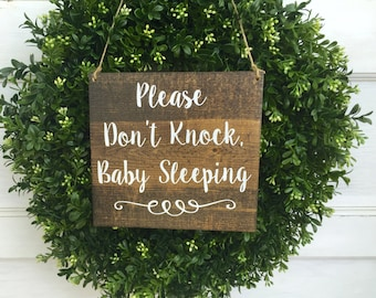Please don't knock baby sleeping  - Do not disturb sign - Nap time Door Sign - Baby Shower - Don't knock sign - wood sign - door sign