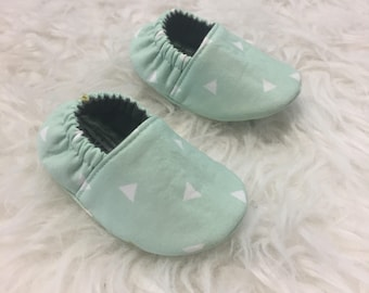 Baby Shower Gift / Mint Triangles / Baby Shoes / Baby Moccasins / Childrens Indoor Shoes / Vegan Moccs / Soft Soled Shoe / Montessori Shoes