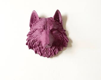 DEEP RASPBERRY Faux Taxidermy Small Wolf Head Wall Hanging mini animal head Wall Mount office wall decor wolf wall art animal wall decor
