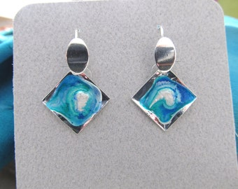 Hand Painted One-Of-A-Kind Earrings by Artist/Designer Diane Kirkup Presented On Sterling Silver Ear Findings