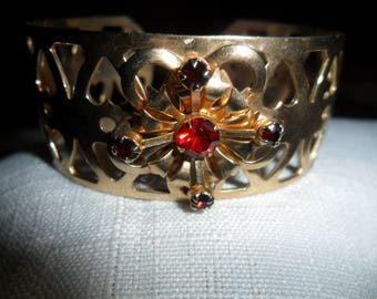 Antique Red Rhinestone Gold Tone Cuff Bracelet