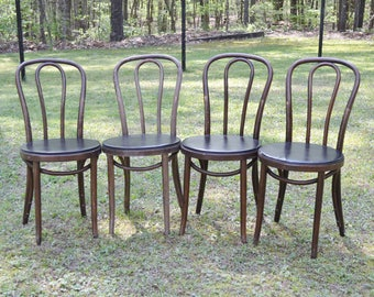 Vintage Thonet Style Bentwood Bistro Chair Set of 4 Black Vinyl Upholstered Seat Medium Dark Tone Wood Otto Gerdau PanchosPorch