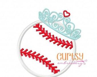Personalized Baseball Softball with Princess Crown Monogram Applique Shirt or Onesie Girl Boy