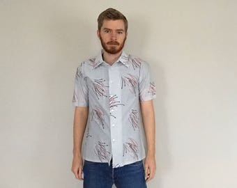 60s Mid Century Blue Lounge Shirt size MEDIUM ~ 35554