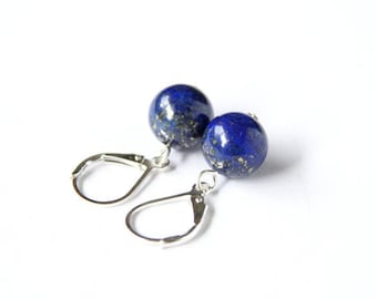 Lapis Lazuli Sterling Earrings Royal Blue Natural Stone Bead Blue Earrings Dark Blue Navy Cobalt Minimal Sterling Silver Leverback #17616