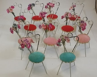 Pink & Aqua Chairs Reserved -- Vintage Miniature White Wire Chairs, Red Seats - Shabby, Charming - Shower,Favors, Table Decor, Dollhouse