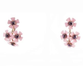 Pink Flower Rhinestone Earrings