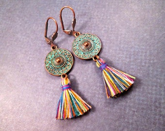 Tassel Earrings, Rainbow Cotton Tassels and Blue Patina Discs, Copper Dangle Earrings, FREE Shipping U.S.