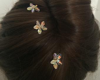 Crystal flower hairpins. Crystal hairpin. Flower hairpins. Bridal hairpin. Wedding hairpins. Crystal hair accessories. Crystal wedding hair