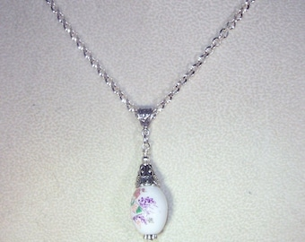 White Ceramic Necklace - Floral - Silver Rolo Chain