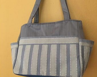 Katrina#1881, Blue Striped Project Bag, Large Project Tote, Knitting Project Bag, Expanding Tote, Self Standing Tote, Knitting Bag, Crochet