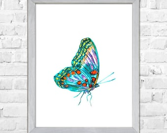 Colorful Butterfly Art Print, Butterfly Watercolor Painting, Butterfly Nursery Wall Art, Kids Room Decor, Nursery Art, Abstract Wall Art