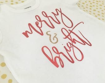 Merry and Bright Christmas Onesie and Toddler Shirt