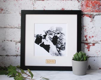 Personalised Picture Frame - Black and White - Valentines Gift - Gift for her - Boyfriend Gift - Girlfriend Gift - Gift for Him