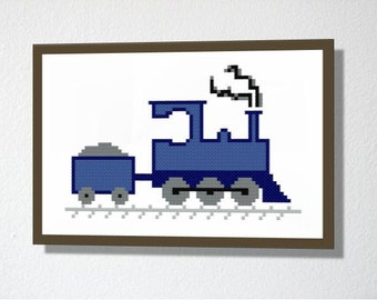 Counted Cross stitch Pattern PDF. Instant download. Train. Includes easy beginners instructions.