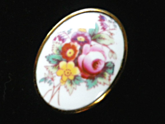 Royal Worcester bone china brooch in floral design, with gift box