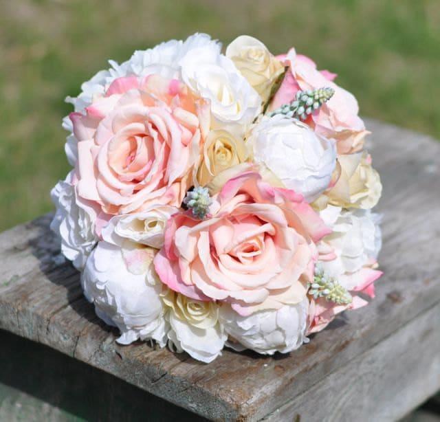 Wedding Flowers, Wedding Bouquet, Keepsake Bouquet, Pink Rose, Ivory Peony, Vanilla Rose, Blue Hyacinth Bouquet.