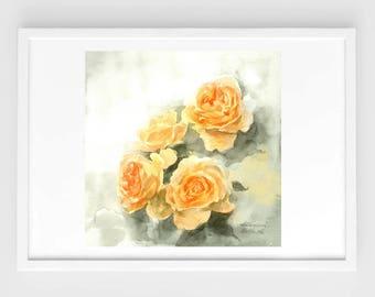 "Original flower watercolor, yellow roses,blooming roses,original painting,8""3x8""3,garden,home decor"