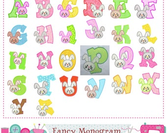 Easter Bunny letters applique,Bunny Monogram A~Z applique,Fonts,Easter design,Alphabet,Easter Letters,Birthday Letters.-1536