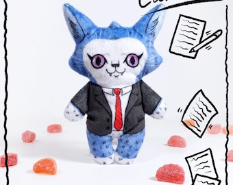 Cameron at the Office- Illustrated cat doll - Soft Minky plush stuffed animal