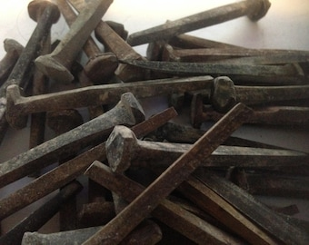 """50 - 2"""" Vintage Patina Antique Rose Head nails - rustic wrought head nails-with aged Patina"""