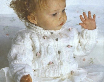Baby Knitting Pattern LEAF DESIGN CARDIGAN  pdf