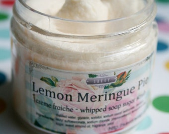Lemon Meringue Pie 2 oz Mini Creme Fraiche Whipped Soap Scrub Trial Sample Size