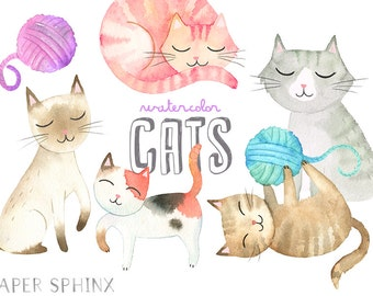 Watercolor Cats Clipart | Kitten Clip Art - Mommy and Baby Cat with Yarn, Watercolor Animals - Instant Download PNG files