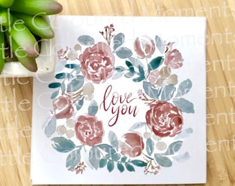 Valentines Printable Floral Watercolour Card