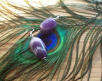 Amethyst Earrings, February Birthstone, Purple Stone Earrings, Gemstone Jewellery, Gems for Pierced Ears