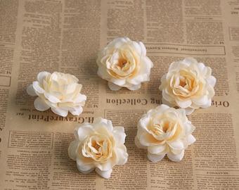 Silk Camellia Japonica Flower Heads, Silk Flower heads decor (pack of 10pcs)