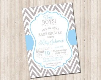 TWINS Baby Shower Invite - Two Little Boys in chevron