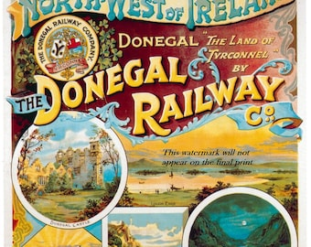 Art Print Donegal Ireland Travel Poster -  1900s - Poster Print 8 x 10