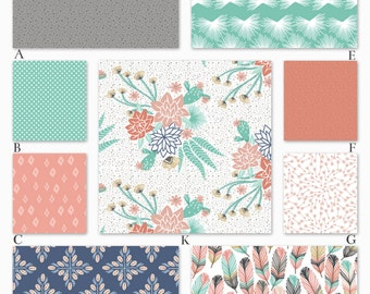 Tribal Southwest Coral and Mint Custom Crib Baby Bedding - The Mohave Collection
